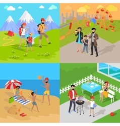 Family Holiday Barbecue Hiking and Amusement Park vector