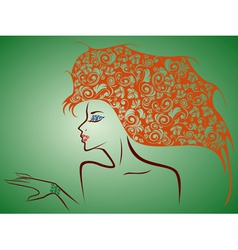 Female contour with floral elements over green vector