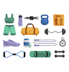 fitness and gym sport equipment set for healthy vector image