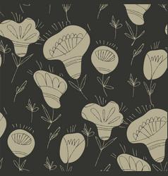 folk floral sketch seamless pattern vector image