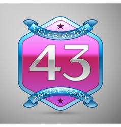 Forty three years anniversary celebration silver vector image