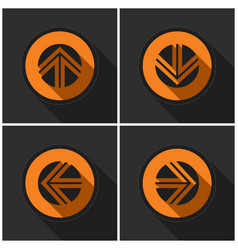 Four orange round - black arrows and shadows vector