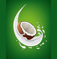 Fresh coconut milk splash on green background vector