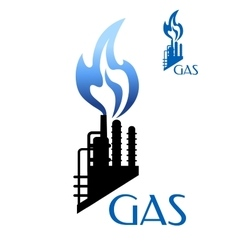 Gas and oil industry icon with factory silhouette vector