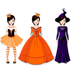 girl with dresses for halloween party vector image