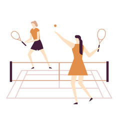 girls playing tennis - flat design style colorful vector image