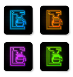 glowing neon coffee machine with glass pot icon vector image