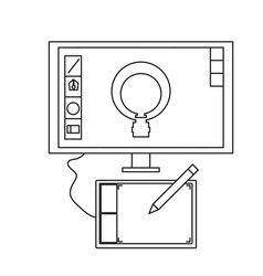 graphic tablet icon vector image