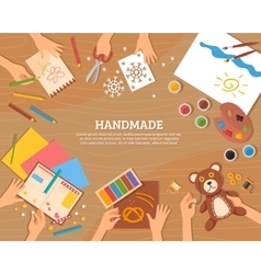 Handmade Concept In Flat Style vector