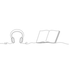 Headphones and an open book with a heart vector