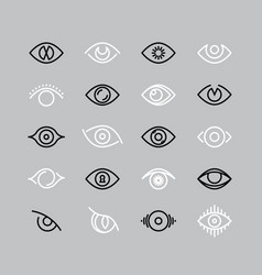 Human eye line icons eyesight outline vector