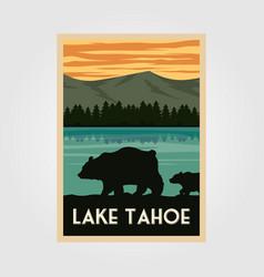 Lake tahoe national park vintage poster outdoor vector
