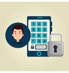 man smartphone password vector image