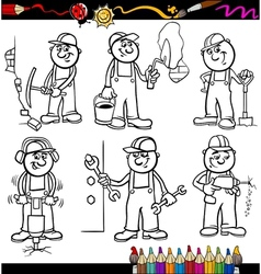 Manual workers set for coloring book vector