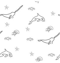 marine life pattern seamless vector image