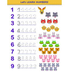 Mathematical educational page for little children vector