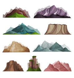 Nature mountain silhouettes set variety of vector