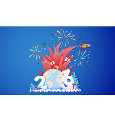 new year sale design card with fireworks vector image