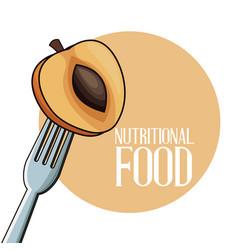 Nutritional food apricot fruit fork vector