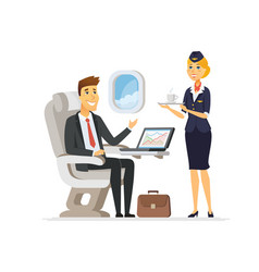 on the plane - cartoon people characters vector image