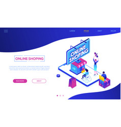 online shopping - modern colorful isometric vector image