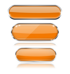 orange glass 3d oval buttons with chrome frame vector image