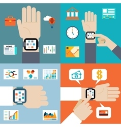 Payment and financial news via smart watch vector image