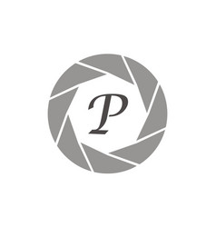 Photography service letter p vector