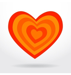 Red orange striped heart on white background vector image
