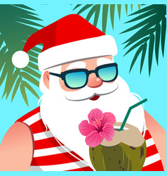 Santa claus wearing sunglasses with coconut drink vector