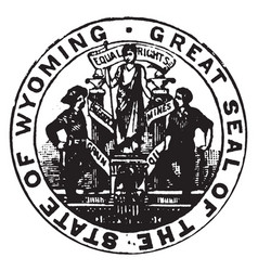 Seal of the state of wyoming 1913 vintage vector