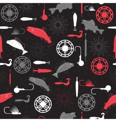 Seamless pattern on a fishing theme vector