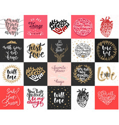 Set 20 love and romantic lettering posters vector