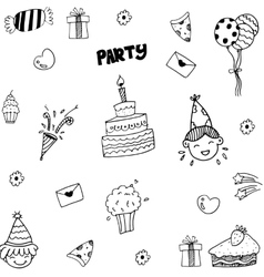 Set of celebratory icons in doodle style vector image