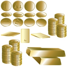 Set of gold coin and ingot vector