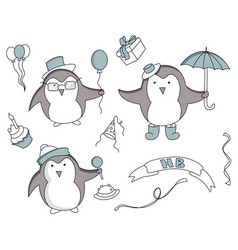 set of hand drawn birthday elements with penguin vector image