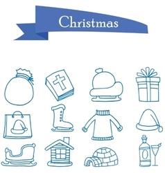 Set of holiday Christmas icons vector