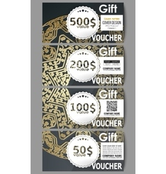 Set of modern gift voucher templates Golden vector image