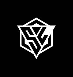Sl logo monogram with triangle and hexagon shape vector