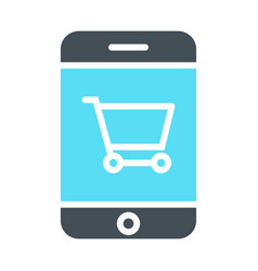 Smartphone with shopping cart icon pictogram vector
