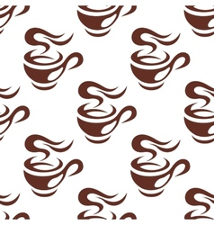 Steaming cup of espresso coffee seamless pattern vector image