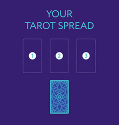 Template for three tarot card spread reverse side vector