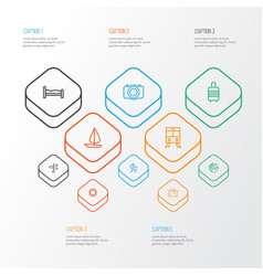 Traveling outline icons set collection of ship vector