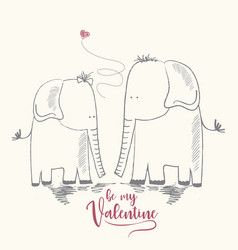 two enamored elephants greeting card of vector image