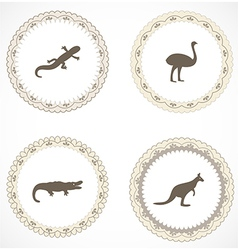 Vintage labels with icons vector image