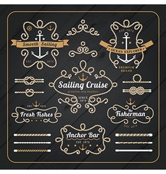 Vintage nautical rope frame labels set vector image