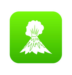 Volcano erupting icon digital green vector
