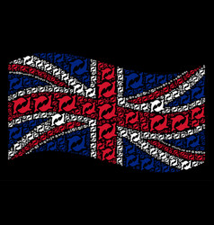 Waving united kingdom flag collage of dolphins vector