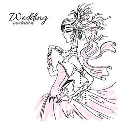 Wedding invitation bride in pink vector
