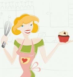 woman and muffin vector image